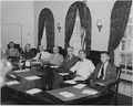 Photograph of Cabinet members with President Truman, (from left to right) Postmaster General Robert Hannegan... - NARA - 199139.tif