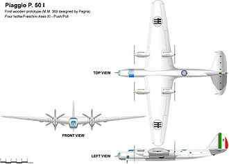 Piaggio P.50 - P 50 first version, four liquid-cooled engines in two nacelles