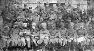 Ukrainian Galician Army - The Supreme Command of the Ukrainian Galician Army. Sitting, 5th through 7th from left, Gen Mykhailo Omelianovych-Pavlenko, Col Viktor Kurmanovych, and Otaman Alfred Schamanek.