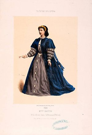 Pierre-Auguste Lamy - Marie Battu playing Ines in L'Africaine by Giacomo Meyerbeer. Watercolored lithography by Pierre-Auguste Lamy (v. 1865).