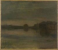 Piet Mondriaan - Riverscape in the evening, buildings at right - 0334250 - Kunstmuseum Den Haag.jpg