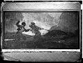 """Pinturas Negras de Goya, """"Duelo a garrotazos"""" o """"La riña"""", fotografía de J. Laurent en 1874, en el interior de la Quinta del Sordo, posiblemente con iluminación eléctrica, VN-08122 P.jpg"""