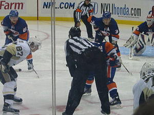 English: A faceoff in the New York Islanders' ...