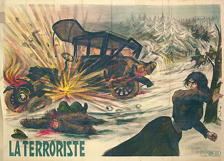La Terroriste, a 1910 poster depicting a female member of the Combat Organization of the Polish Socialist Party throwing a bomb at a Russian official's car. Plakat La Terroriste.jpg