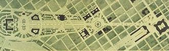 "Jacques Gréber - ""Plan for the Fairmount Parkway"" (1917). Now Benjamin Franklin Parkway, Philadelphia"