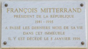 The Last Mitterrand - Plaque at 9, avenue Frédéric-Le-Play in the 7th arrondissement of Paris. Mitterrand could walk in the nearby Champ-de-Mars.