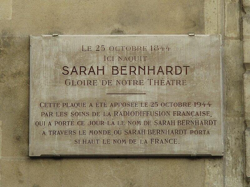 Fichier:Plaque Sarah Bernhardt.jpg