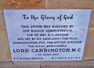 Peter Carington, 6th Baron Carrington - A stone set by Lord Carrington while High Commissioner to Australia, at the All Saints Church, Canberra
