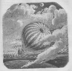 "The Unparalleled Adventure of One Hans Pfaall - Yan Dargent's illustration about The Unparalleled Adventure of One Hans Pfaall for Jules Verne's ""Edgar Poe et ses œuvres"" (1864)"