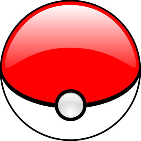 """The screen icon called the""""Poké Ball"""" - s spherical red and white shape with aschematic eyeball in the middle"""