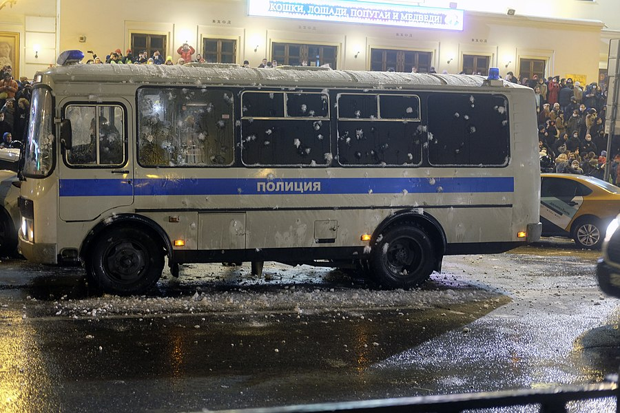 Police bus was attacked with snowballs.jpg