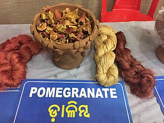 Natural dye - Using natural dyes to color the yarn of Tasar silk.