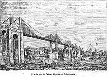 A black and white sketch showing a suspension bridge.