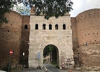 Porta Latina gate in the Aurelian Walls of ancient Rome