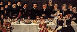 anonymous: Portrait of Pierre de Moucheron (1508-1567) and Isabeau de Gerbier, their 18 children, son-in-law Allard de la Dale and first grandchild
