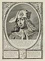 Portret van Dirk VI, graaf van Holland, met een met parels en edelstenen verfraaide hoofddeksel. De omlijsting is versierd met het wapen van Holland. NL-HlmNHA 1477 53012905.JPG