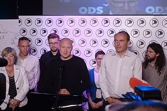 Czech Pirate Party - Economist and auditor Lukáš Wagenknecht (center) was elected Senator in the 2018 election. when the term of whistleblower Libor Michálek (front right) ended