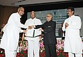 Pranab Mukherjee presenting the Jagjivan Ram Abhinav Kisan Puruskar, at the 85th Foundation Day Lecture of ICAR, in New Delhi. The Union Minister for Agriculture and Food Processing Industries.jpg