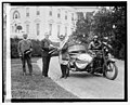 President Coolidge, sidecar motorcycle, in front of White House, 6-6-24 LOC npcc.11540.jpg