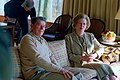 President Ronald Reagan with Prime Minister Margaret Thatcher During a Working Luncheon at Camp David (retouched).jpg
