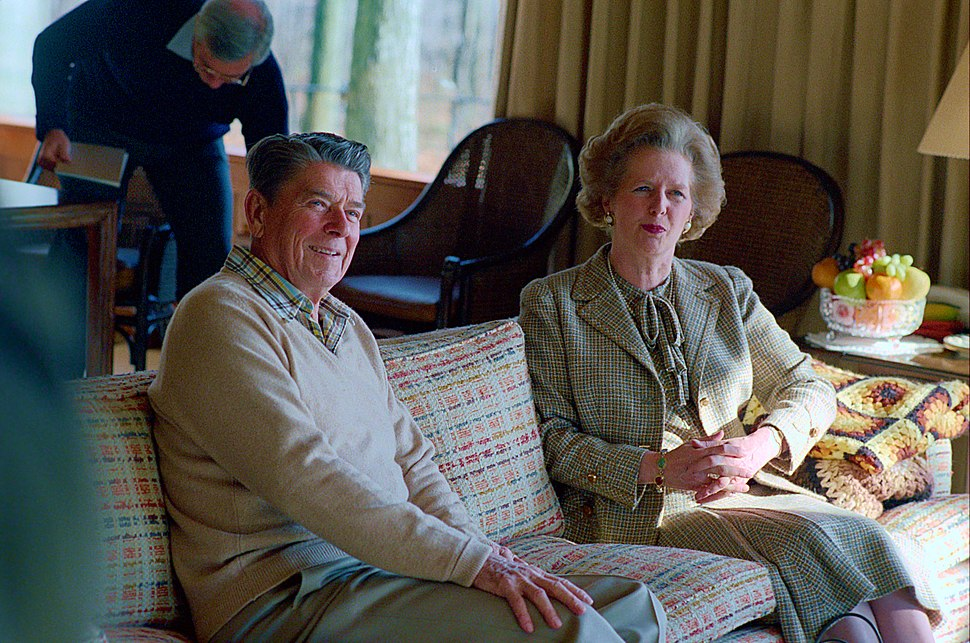 President Ronald Reagan with Prime Minister Margaret Thatcher During a Working Luncheon at Camp David (retouched)