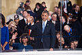 President and first lady wave to performers at 57th Inaugural Parade 130121-Z-QU230-267.jpg