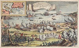 William Shirley - Colored engraving depicting the Siege of Louisbourg