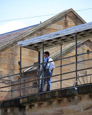 Parramatta Correctional Centre - A prison guard on lookout in the watchtower at Parramatta Gaol