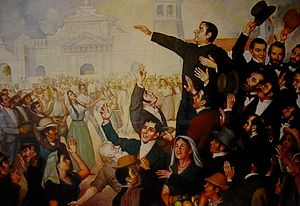 El Salvador - A painting of the First Independence Movement celebration in San Salvador. At the center, José Matías Delgado.