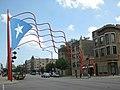 Puerto Rican metal flag at Division Street, Humboldt Park, Chicago, US.jpg