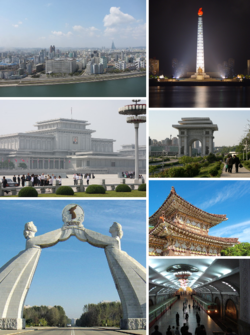 Clockwise from top left: Pyongyang skyline and the Taedong River; Juche Tower; Arch of Triumph; Tomb of King Tongmyeong; Puh?ng Station in the Pyongyang Metro; Arch of Reunification; and Kumsusan Palace of the Sun