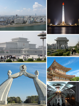 From top left: Pyongyang's Skyline, Juche Tower, Kumsusan Memorial Palace, Arch of Triumph, Arch of Reunification, Tomb of King Dongmyeong & Puhŭng Station, Pyongyang Metro