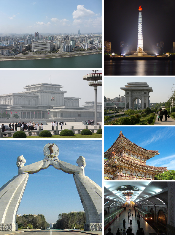 Clockwise from top left: Pyongyang skyline and the Taedong River; Juche Tower; Arch of Triumph; Tomb of King Tongmyeong; Puhŭng Station in the Pyongyang Metro; Arch of Reunification; and Kumsusan Palace of the Sun