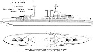 HMS Warspite (03) - Diagram of the Queen Elizabeth class published by Brassey's Naval Annual in 1923