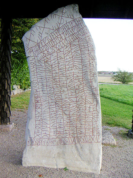 An inscription using cipher runes, the Elder Futhark, and the Younger Futhark, on the 9th-century Rok Runestone in Sweden Rokstenen 1.JPG