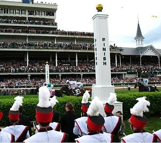 University of Louisville Cardinal Marching Band - UofL Band at the Churchill Downs, pictured near the finish line