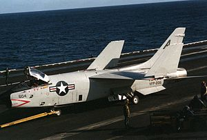 RF-8G VFP-206 is towed on USS Eisenhower (CVN-69) 1985.JPEG