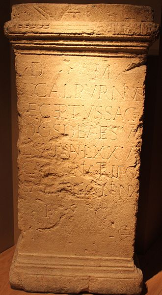 Sulis - Latin epitaph of Gaius Calpurnius, a priest of Sulis at Bath, who died at the age of 75 and was commemorated by his wife, a freedwoman