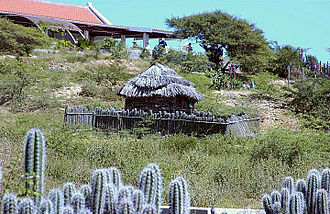 Bonaire - Traditional old houses with cactus fences, preserved in the outdoor museum in Rincon, Bonaire.