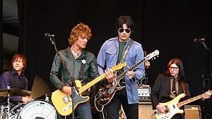 The Raconteurs - Performing at T in the Park, July 2008. Left to right: Patrick Keeler, Brendan Benson, Jack White, and Jack Lawrence.