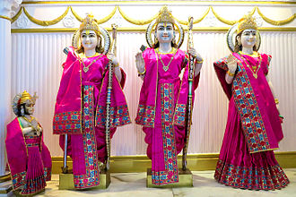 Hinduism in Gibraltar - Ram, Sita, Lakshman and Hanuman at Gibraltar Hindu Temple