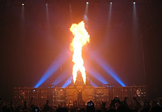 Rammstein are known for their frequent use of pyrotechnics during live performances Rammstein Nottingham.jpg