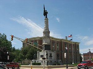 Winchester, Indiana - Randolph County Courthouse and veterans' monument in downtown Winchester