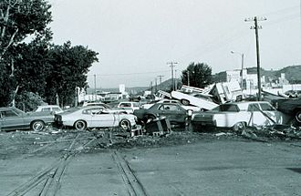 Rapid City, South Dakota - Cars jumbled together by the 1972 flood.