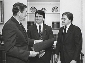 Grover Norquist - Ronald Reagan meeting with Jack Abramoff and Grover Norquist in connection with the College Republican National Committee, 1981