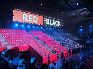 Red or Black? - The Red and Black seating areas where contestants picked a colour at the Red or Black? Arena in series 1