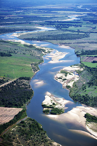 Red River of the South - Red River looking east, north of Bonham, Texas: