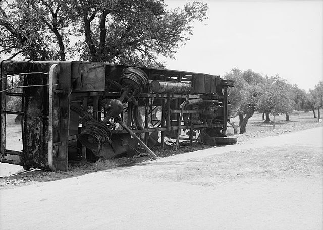 Result of terrorist acts & government measures. Remains of a burnt Jewish passenger bus at Balad Esh-Sheikh outside Haifa