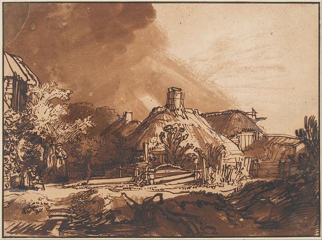 «Хижина под небом, предвещающим бурю». Рисунок (1635)