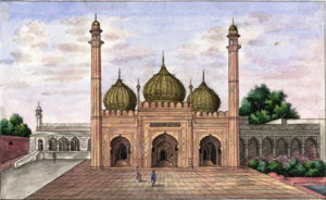 Golden Mosque (Red Fort) - Painting of the Golden Mosque, in 1843